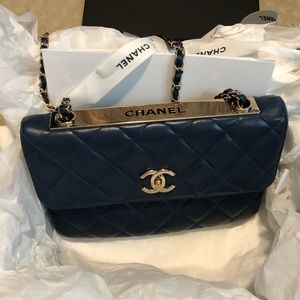 Authentic Chanel trendy 2017 flap bag navy